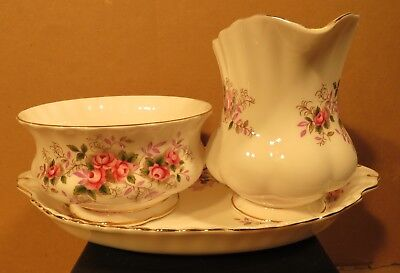 Royal Albert Lavender Rose Large Cream & Sugar With Regal Tray Made in England