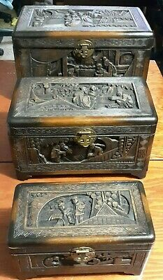 Antique Oriental Chinese Carved Wood Chest Jewelry, Treasure  3 pc set*