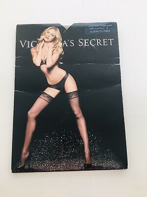 VICTORIAS SECRET LACE TOP THIGH HIGH Beige PANTYHOSE STOCKINGS