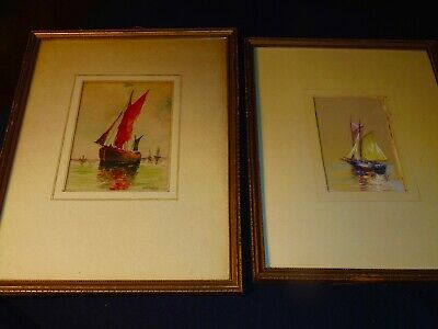 WILLIAM HENRY DEACY ;PAIR (2) ANTIQUE ORIGINAL WATERCOLORS;S;c.1920;SHIPS;LISTED