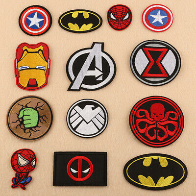 Embroidered Patch Badge Iron-on Sew On DIY spiderman superman Batman revengers