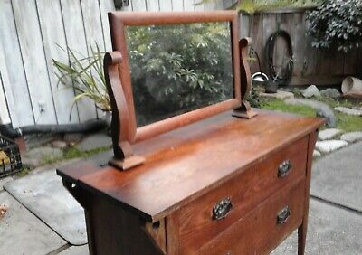 Antique 2 Drawer Wash Stand Project Original Brass Wheels Comes With Mirror