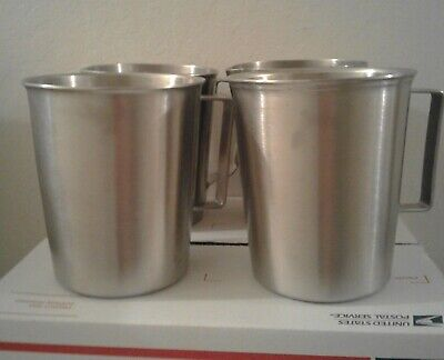 Lot Of 4 Vintage Medical Stainless Water  Pitcher's With Measurements 32 oz.
