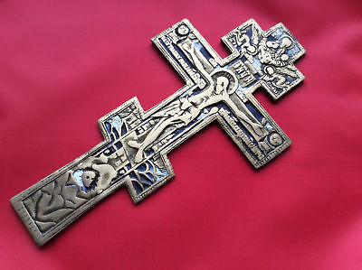 Antique Russian Orthodox Large Blessing Cross Brass Enamel Icon صليب