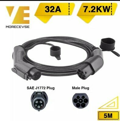 Morec EV Charging Cable 32A 7.2KW Electric Cord for Car Charger type 1 to 2, 5M