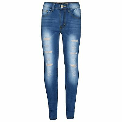 Kids Girls Skinny Jeans Mid Blue Denim Ripped Stretchy Pants Jeggings 3-13 Year