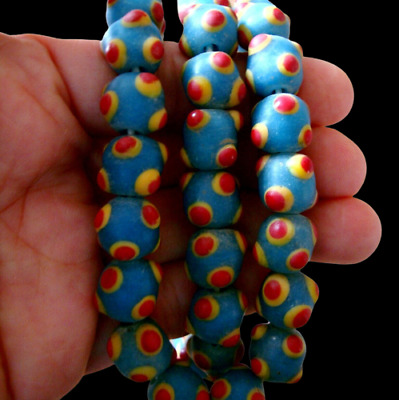 """25"""" Antique Turquoise Glass Phoenician Stone 6 Eye Trade Bead Strand Necklace 93"""