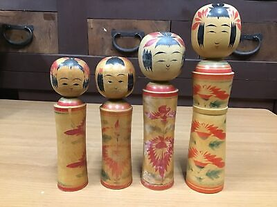 Y0383 OKIMONO Kokeshi Doll set of 4 Japanese antique statue figure Japan