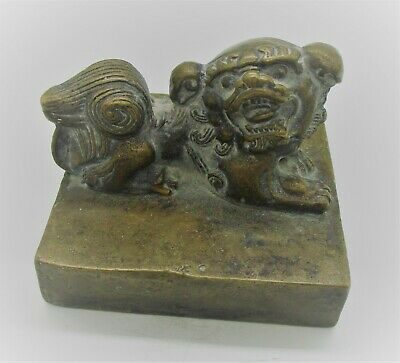 Ancient Chinese Heavy Bronze Seal Stamp With Beast On Top