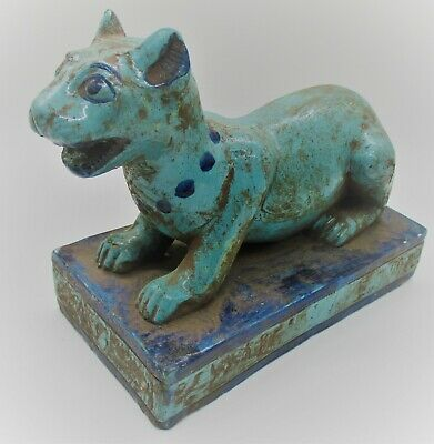Beautiful Antique Egyptian Glazed Faience Seated Beast Statuette