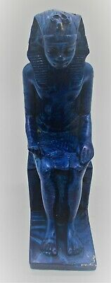 Beautiful Vintage Egyptian Glazed Blue Stone Statue Seated Pharoah