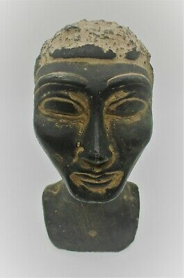 Circa 500Bce Ancient Egyptian Glazed Black Stone Statue Fragment Head Of Pharoah