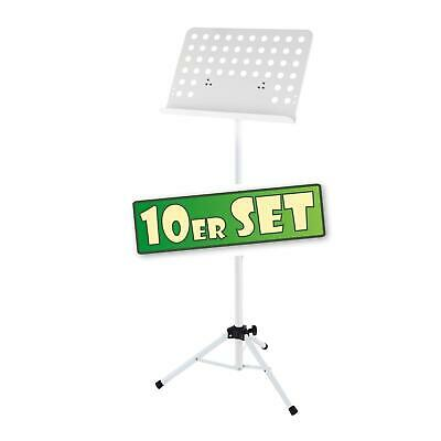 10x Atril Partituras Musica Soporte Orquesta Plegable Metal Ajustable Blanco Set