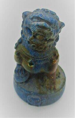 Ancient Chinese Glazed Blue Stone With Beast On Top