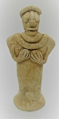 Circa 500 Bce Ancient Near Eastern Terracotta Pillar Idol Worshipper