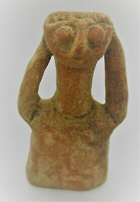 Circa 500 Bce Ancient Near Eastern Terracotta Idol Worshipper