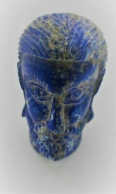 Ancient Sasanian Lapis Lazuli Statue Fragment Head Of Ruler Superb
