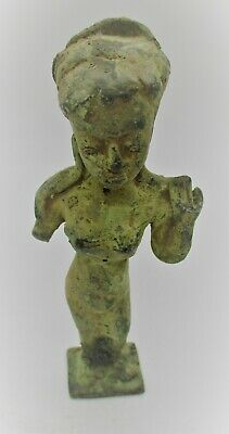 Ancient Sasanian Bronze Statuette In The Form Of A Lady Circa 400Ad