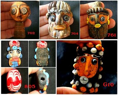 Antique Phoenician Colorful Face Roman Islamic Mosaic Glass Bead Pendant 764