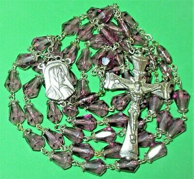Vintage Large Purple Glass Beads Rosary Blessed Virgin Mary & Jesus Sacred Heart