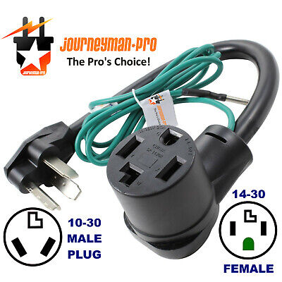 NEW FEMALE 14-30R 4-PRONG RECEPTACLE to OLD MALE 10-30P 3-PIN PLUG DRYER ADAPTER