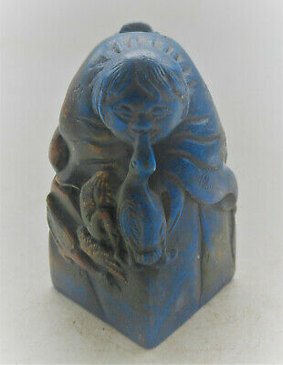 Ancient Chinese Glazed Stone Seal Stamp With Man On Top