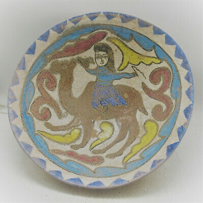 Beautiful Ancient Persian Khorasan Glazed Terracotta Bowl Superb