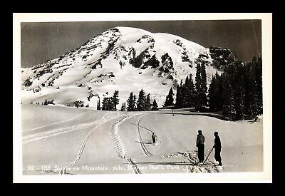 Us Postcard Skiers On Mountain Rainier National Park Rppc