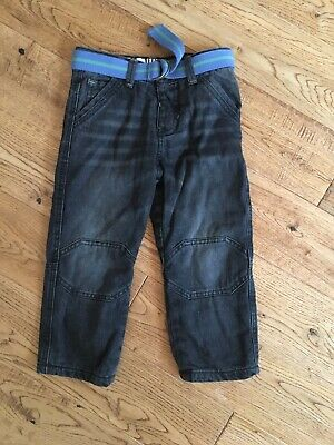 Boys fleeced lined denim trousers size 2-3 years grey with belt Mothercare