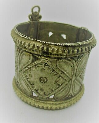 Old Antique Islamic Decorated Silvered Bangle Bracelet Very Nice