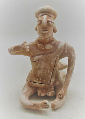 Circa 500Bce Ancient Near Eastern Seated Terracotta Worshipper Statue