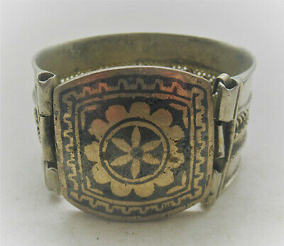 Old Islamic Post Medieval Silver Decorated Bangle Bracelet