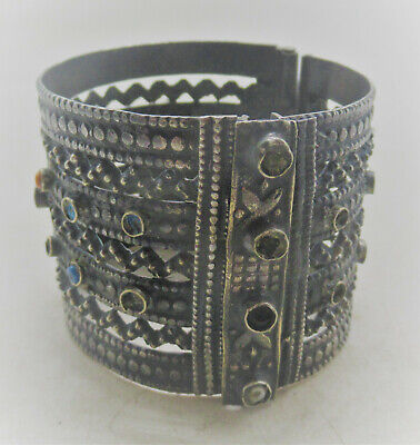 Beautiful Old Islamic Silvered Decorated Bangle Bracelet With Stones