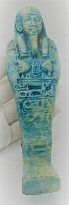 Ancient Egyptian Blue Glazed Faience Ushabti Shabti With Heiroglyphics