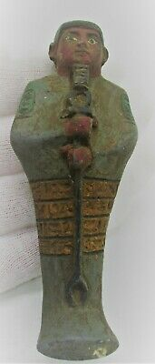 Ancient Egyptian  Faience Ushabti Shabti With Heiroglyphics