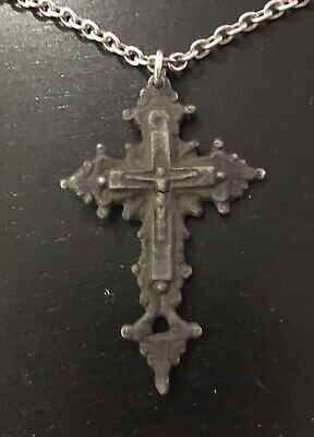 Orthodox Bronze Post-Medieval Old Believer Russian Crucifix With Sterling Chain