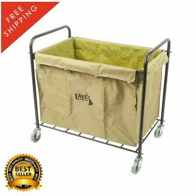 12 Bushel Metal Canvas Laundry Trash Cart Bag Handles Hotel Linen Housekeeping
