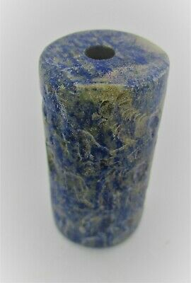 Ancient Sasanian Lapis Lazuli Carved Cylindrical Bead Seal With Impressions