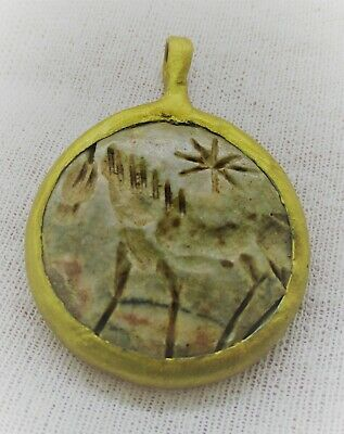 Beautiful Old Antique Gold Gilded Pendant With Agate Stone Intaglio