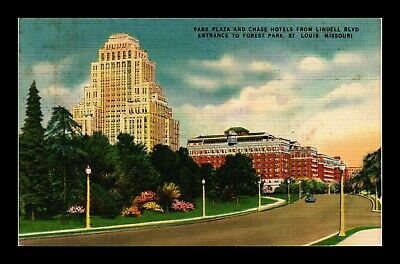 Us Linen Postcard Luxurious Park Plaza And Chase Hotels St Louis Missouri