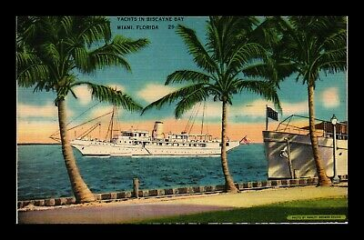 Us Linen Postcard Tropical Palm Trees Yachts In Biscayne Bay Miami Florida