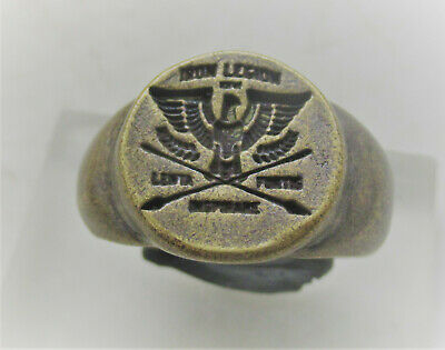 Scarce Ancient Roman Silvered Bronze Legionary Ring Aquilla Eagle
