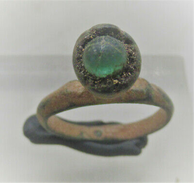 Circa 900 - 1100 Ad Viking Era Norse Bronze Ring With Stone Inset