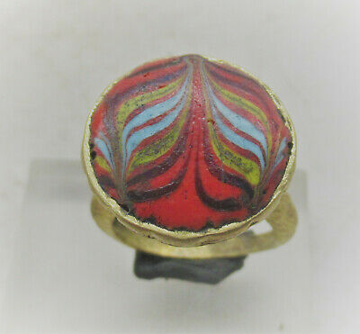 Ancient Phoenician Gold Gilded Ring With Mosaic Glass Insert Beautiful