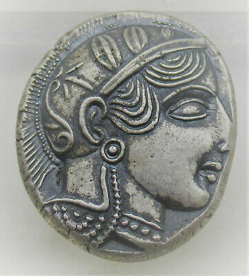 Rare Ancient Greek Ar Silver Tetradrachm Coin Attica Athens Owl 500Bce