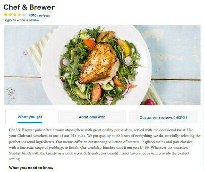 Tesco Clubcard Voucher for Chef & Brewer Restaurant to value of £39 (£30 + £9)