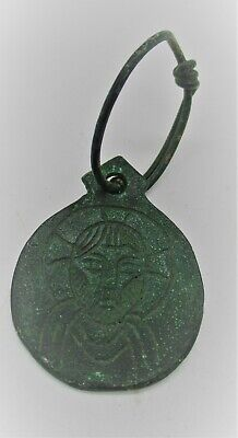 Ancient Byzantine Bronze Pendant With Saint Depiction And Twisted Loop
