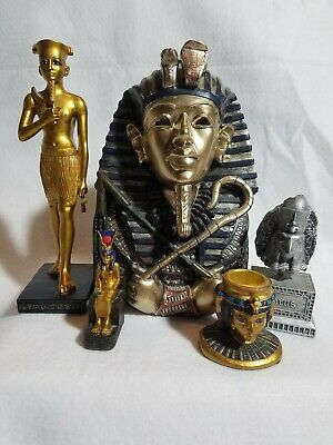 Collection of 5 Ancient Egyptian Figurines - Horus, Pharaoh Bust, Isis...