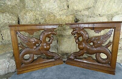 Antique French Large Pair Wall Wood Bracket Hand Carved Chimera Dragon Corbels
