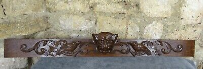 """44"""" Antique French Large Cornice Furniture Hand Carved Pediment Wood Solid Oak"""
